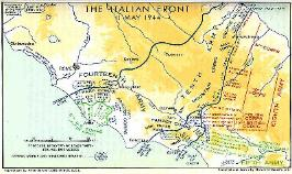Map of the front of the Italian Campaign