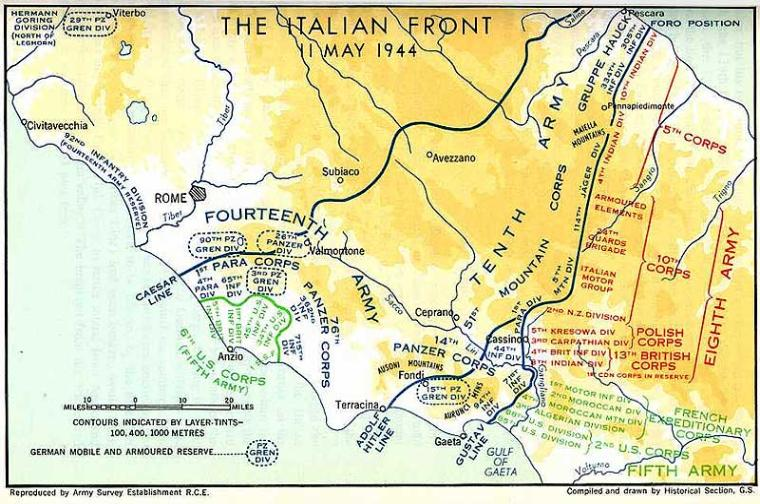 Map enlargement of Italy, Battle of Monte Cassino