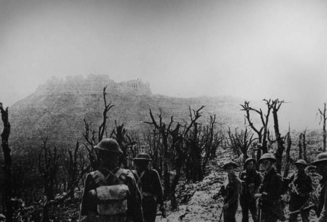 Polish soldiers approaching Monte Cassino after bombing