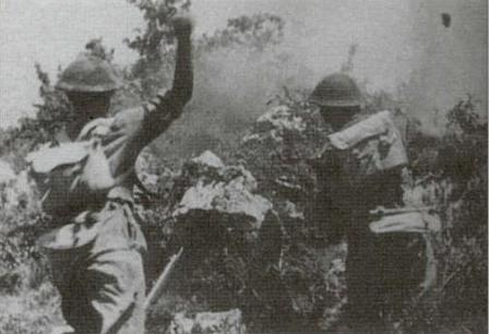 Polish soldiers charging up Phantom Hill, Monte Cassino