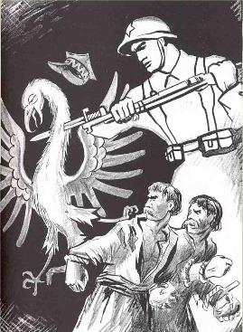 Soviet Propaganda Poster killing Polish Eagle WW2
