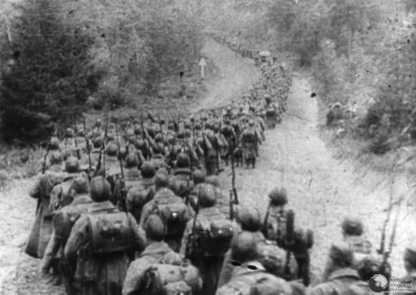 Soviet infantry marching into Poland September 17, 1939