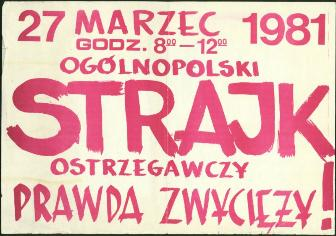 Solidarnosc Leaflet calling for Nation Wide Strike March 27 1981