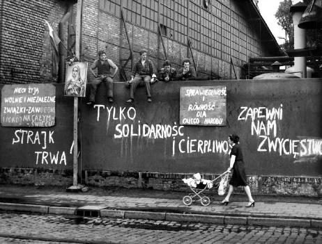 Shipyard Workers on wall - Solidarnosc